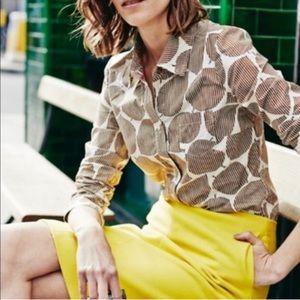 Boden brown striped leaf print button down shirt